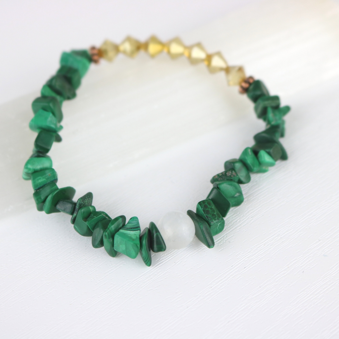 Stretchy Malachite Bracelet With Glittery Gold Bead Accents Semi Loose And Comfortable Fit
