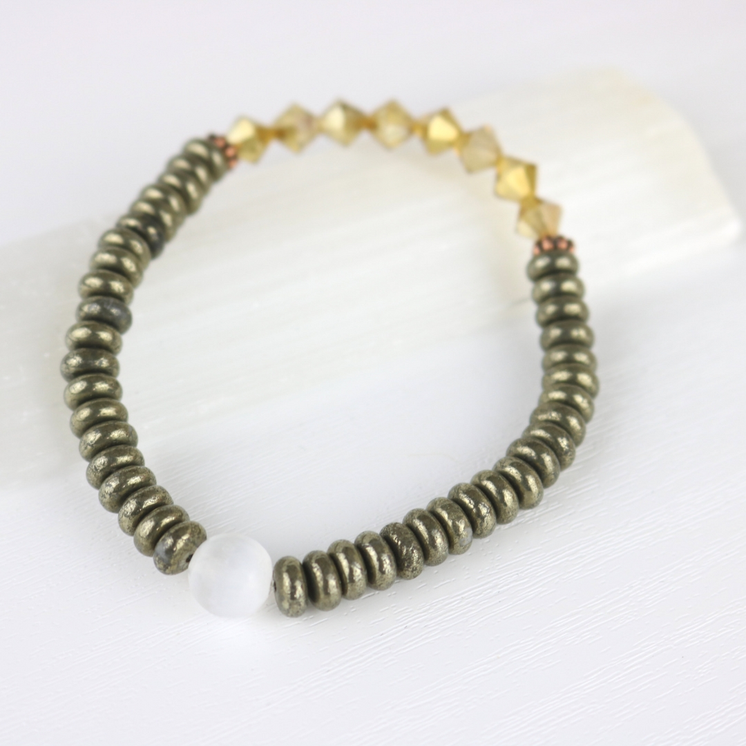 Stretchy Pyrite Bracelet With Selenite And Glittery Gold Bead Accents Semi Loose Comfortable