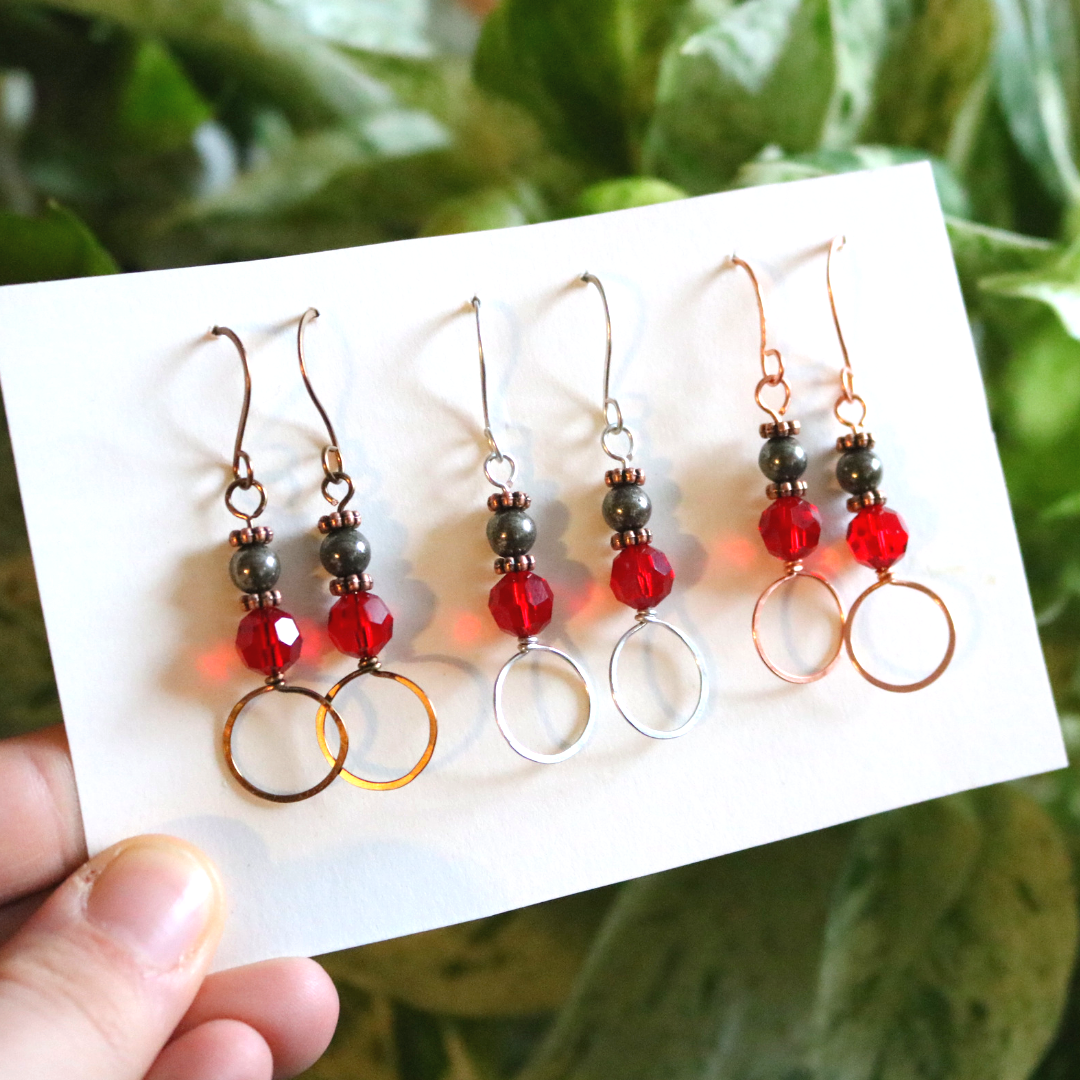 Pyrite Earrings With Red Sparkly Accent